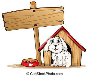 casa de madera, dentro, signboard, perro