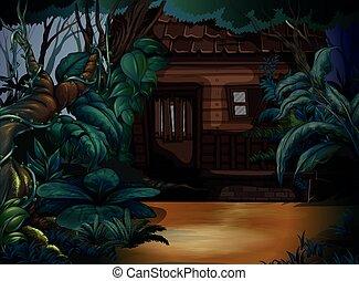 Casa de madera en el bosque profundo