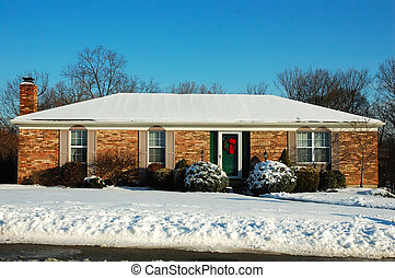 Casa de rancho en invierno