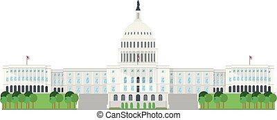 Casa del Capitolio, Washington DC, EE.UU. Aislado en ilustración de vectores de fondo blanco.