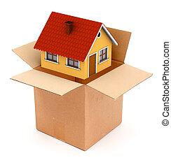 casa, embalaje, o, desembalar