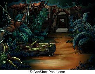 Casa embrujada en el bosque profundo