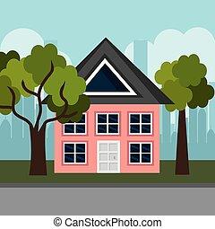 Casa en la escena del vecindario