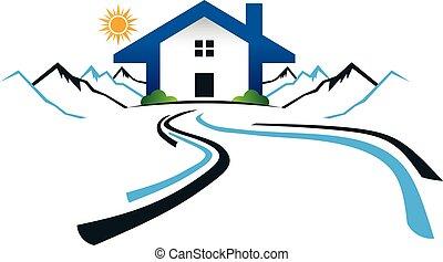 Casa en las montañas con logo de carretera. Diseño gráfico Vector