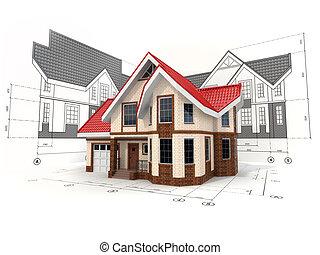 Casa en los borradores en diferentes proyecciones y planos.
