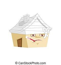 Casa enferma con termómetro aislado. Estilo de dibujos animados. Construyendo vector vendado