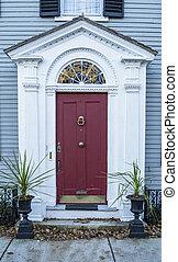 casa, entrada, ma, típico, newburyporth, residencial
