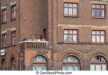 casa, fachada, balcón