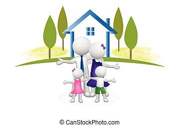 casa, familia , 3d, logotipo, gente