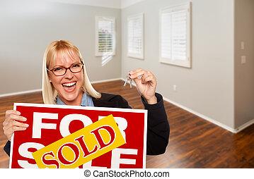 casa, habitación, señal, llaves, mujer, vendido, venta, vacío, propiedad, verdadero, nuevo