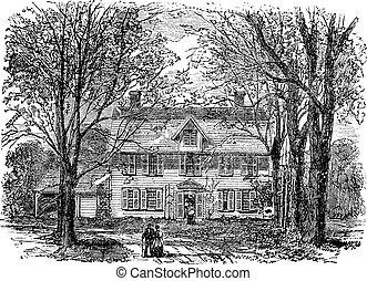 Casa Hawthorne en Concord, grabado vintage de Massachusetts