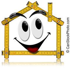 casa, herramienta, madera, -, metro, sonriente
