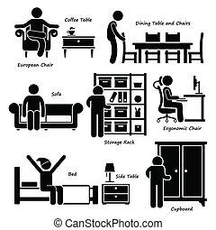 casa, hogar, muebles, iconos