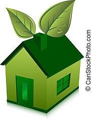 casa, hojas, verde