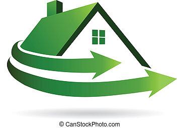 casa, image., vector, renovación, icono
