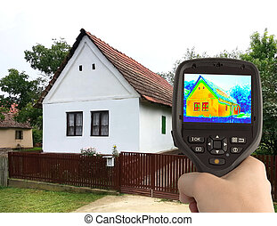 casa, imagen, viejo, termal