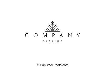 casa, interior., silueta, resumen, imagen, pirámide, logotipo, vector