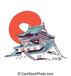 casa, japonés, dibujo