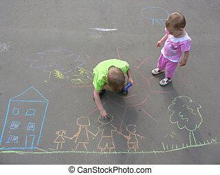 casa, niños, familia , asfalto, dibujo