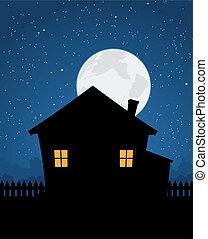 casa, noche, silueta, estrellado
