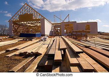 casa, nuevo, construcción, debajo