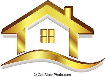 casa, oro, logotipo, vector, 3d