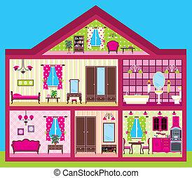 Casa para la chica en un corte