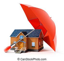 casa, paraguas, rojo, lluvia, proteger