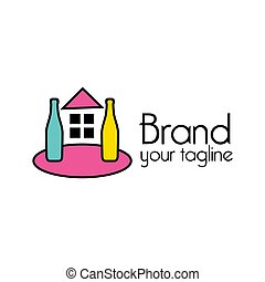 casa, plano de fondo, design., plano, ilustración, logotipo, blanco, botella, colorido, vector