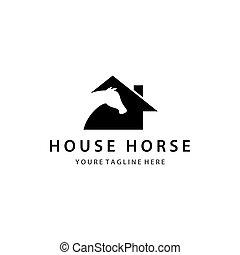 casa, plantilla, caballo, logotipo
