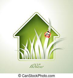 casa, primavera, templ, verde, invitación