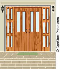 casa, puerta, exterior