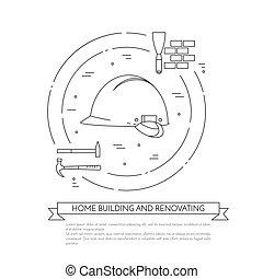 Casa remodelada horizontalmente con herramientas de construcción