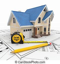 Casa residencial con herramientas en planos arquitectos.