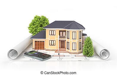 Casa residencial con herramientas en planos de arquitectos. Proyecto de vivienda. Ilustración 3D