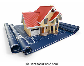 Casa residencial en planos arquitectos. Proyecto de vivienda.