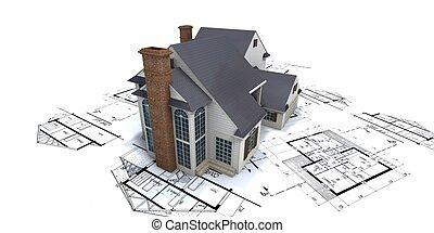 Casa residencial encima de los planos de arquitectos 2