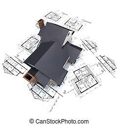 Casa residencial encima de los planos de arquitectos 3