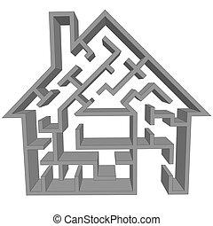 casa, símbolo, caza, laberinto, hogar