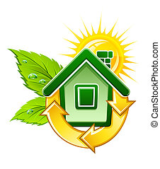 casa, símbolo, energía, ecológico, solar