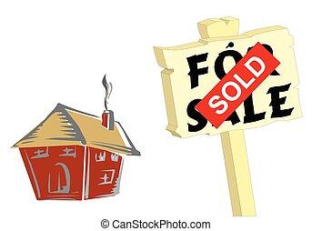 casa, señal, vendido