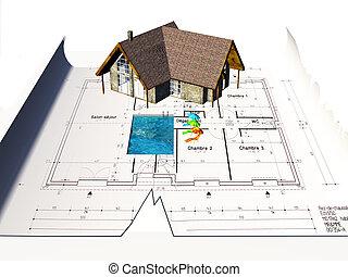Casa sentada en planos