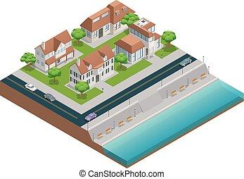 casa, suburbano, isométrico, composición