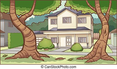 casa, suburbano, plano de fondo