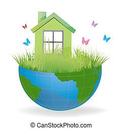 casa, tierra verde, mitad