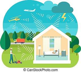 casa, vector, ilustración, soundproofing