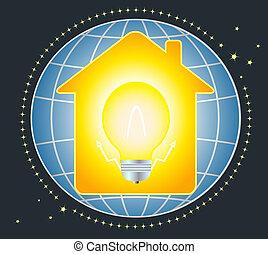 Casa y lámpara con planeta