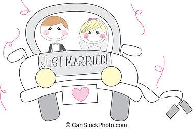 casado, caricatura, sólo