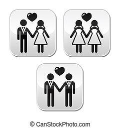 casado, hetero, boda, alegre