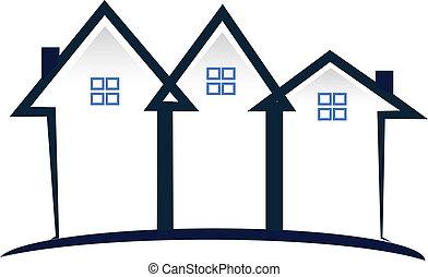 Casas azules logotipo de bienes raíces